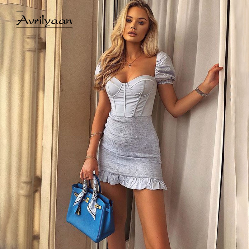 Avrilyaan 2020 damasco plissado sem costas sexy vestido para as mulheres robes noite clube vestidos de festa bodycon vestido de verão