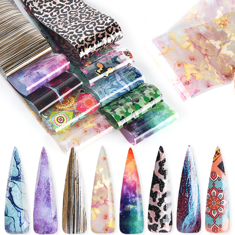 Gradient Starry Sky Nail Foil Marble Sexy Leopard Nail Glue Transfer Sticker Holographic Nail Stripe Gel Slider Manicure SA1575