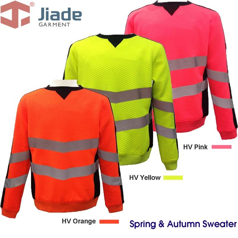 Jiade Adult High Visibility Yellow/HiVi Orange HiVi-Pink Hoodie  Men's Work Reflective Hoodie EN471 ANSI Hoody  free shipping