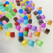 100 pçs/set 8mm cubo de canto quadrado transparente colorido cristal cor clara dice peça xadrez ângulo direito para o jogo tabuleiro