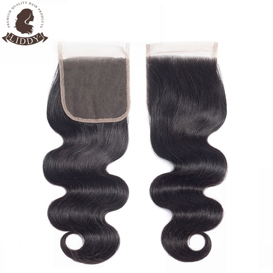 Liddy Body Wave 4x4 Lace Closure 100% Human Hair Closure Brazilian Hair Weaving Natural Color Non-remy Hair Frontal Closure