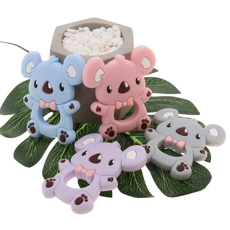 ATOB 2Pc Silicone Teether Rose Flower KoalaTeething Toddler Toys For Baby Rattle Infant Toy Silicone Baby Teether