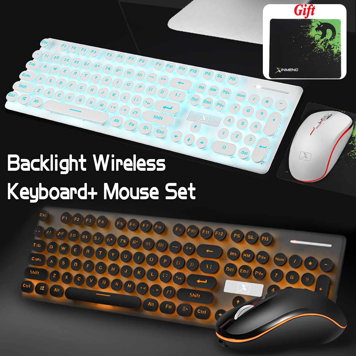 Multimedia 2.4G Wireless Keyboard Mouse Combos Rechargeable Mute LED Backlit Gaming Keyboard Mouse Pad Set