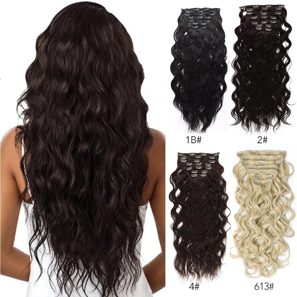 MEEPO синтетические волосы для наращивания на клипсах 24 дюйма волнистые Волнистые 20 клипсов для женщин 140 г 7 шт./лот