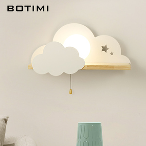 Image 3 - BOTIMI Kinder LED Wand Lampe Für Schlafzimmer Glas Lampenschirm Wolke Metall Cartoon Jungen Nacht Beleuchtung Kinder Zimmer Mädchen Wandleuchte
