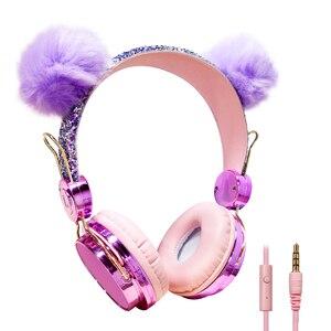 Image 5 - חמוד ילדה אוזניות רך lush כדור חתול Wired אוזניות עם מיקרופון נייד טלפון גיימר מוסיקה אוזניות עבור iPhone סמסונג LG