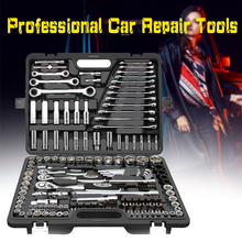 цена на Hand Tool Set General Household Hand Tool Kit with Plastic Toolbox Storage Case Socket Wrench Screwdriver For Auto Repair Tools
