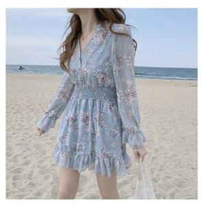 Image 5 - חמוד מיני שמלות המפלגה תאריך ללבוש אישה ארוך שרוול קוריאה יפן פרע מתוק בנות קטן פרחוני שיפון שמלת 8503