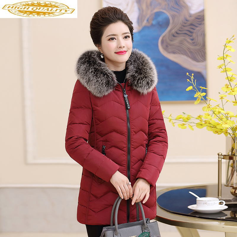 2020 Women's Down Jacket Winter Coat Female Fox Fur Collar Plus Size Hooded Warm Puffer Jacket Chaqueta Mujer 18 563