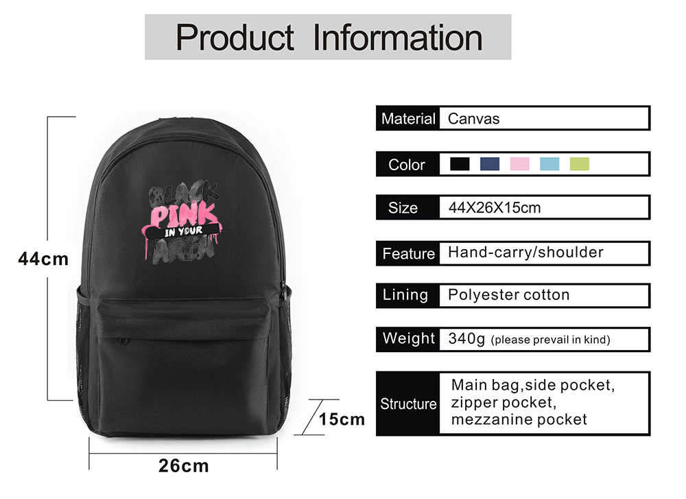 Kpop USB Charge music blackpink backpack book bag for boys girls  unisex schoolbag For teenagers travel backpack  school bag