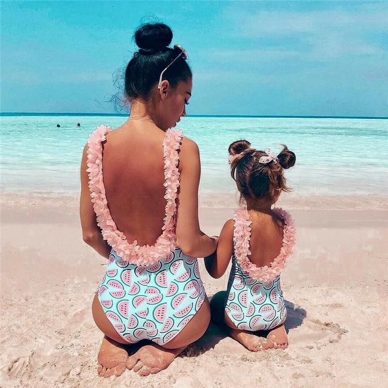 Family Matching One-Piece Suits Toddler Infant Baby Girls Watermelon Swimsuit 3D Flower Swimwear Swimming Bikini