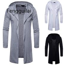 Mens Trench Coat New Mens Outdoor Sport Hooded Solid