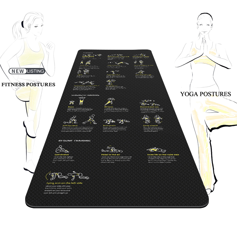 New Black TPE Yoga Mat 6mm with Fitness Bodybuilding Yoga Exercise Posture Guidance Non slip Durable Sports Mat Eco friendly|Yoga Mats| - AliExpress
