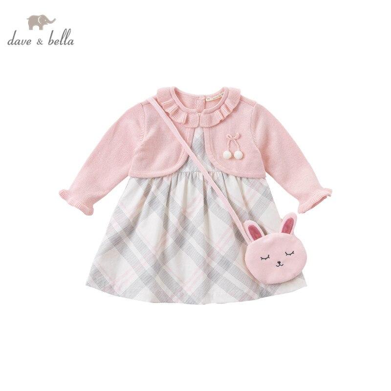 DBJ14546 dave bella/осеннее модное платье в клетку с бантом для маленьких девочек, вечерние платья с маленькой сумкой детская одежда в стиле «лолита» из 2 предметов|Платья| | АлиЭкспресс