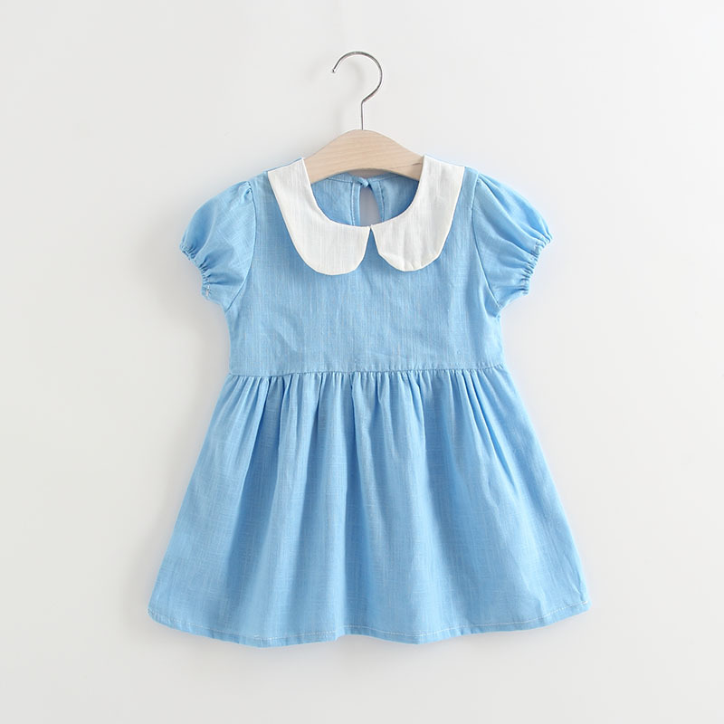 Summer 2019 Kids Dresses For Girls Casual Wear Doll Collar Girl Dress Children Boutique
