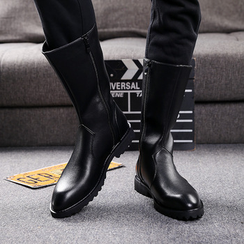 big size men famous brand high boots punk motorcycle dress soft leather shoes mid-calf long boot botas hombre chaussure botines