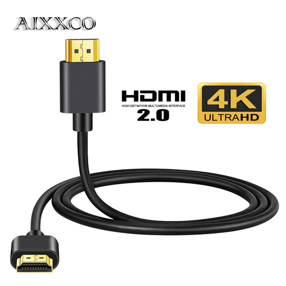 AIXXCO 0,5 HDMI кабель 1 М 1,5 м 2 м 3 м 4K 60Hz HDMI к HDMI кабель высокой Скорость 2,0 с золотым покрытием Соединительный кабель Шнур для UHD FHD 3D