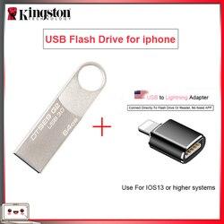 Asli Kingston【usb Flash Drives】 16 GB 32 GB 64 GB Pen Drive 128 GB Flashdisk dengan USB Ke Lightning Adapter【for iPhone 11 10/Ipad】
