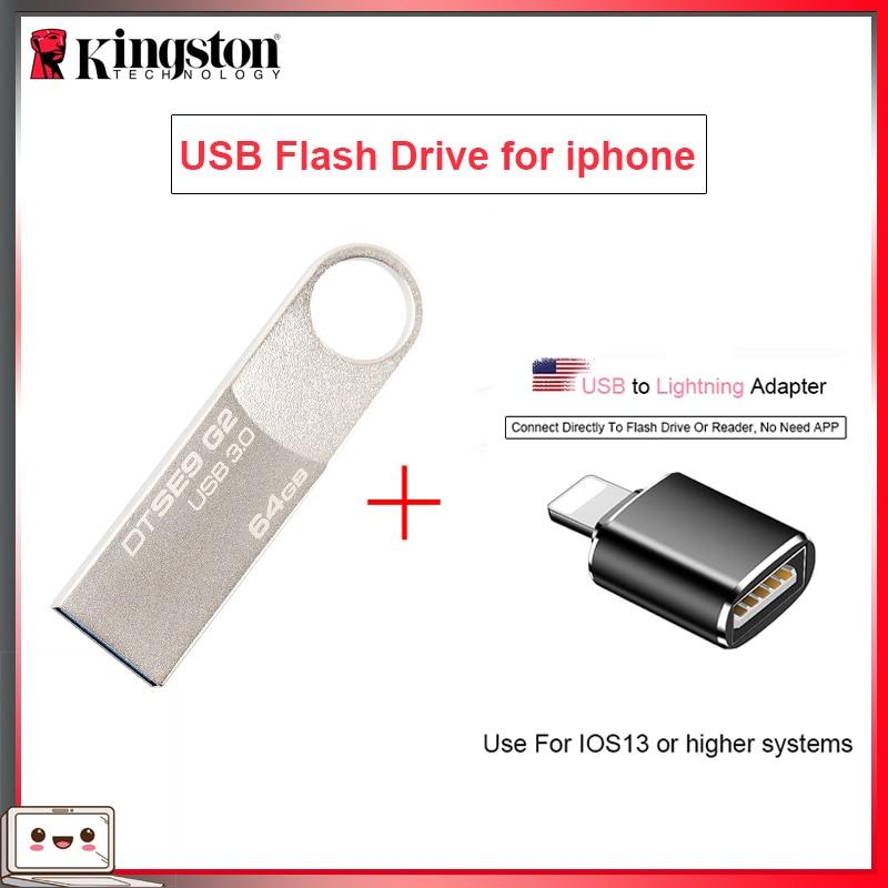Original Kingston【USB Flash Drives】16gb 32gb 64gb Pen Drive 128gb Pendrive With USB To Lightning Adapter【for Iphone 11 10/ Ipad】