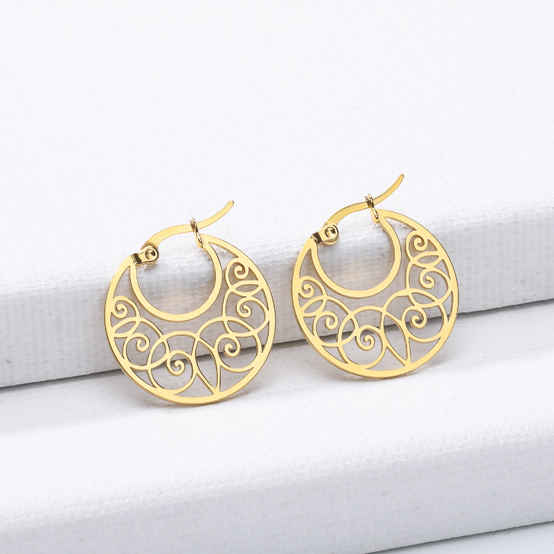 Geometric Circle Brincos Rose Gold Geometric Hollows Stud Earrings For Women Stainless Steel Boucle <font><b>d</b></font>'oreille <font><b>2019</b></font> image