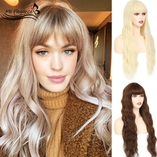 MS FLEGANCE 24In Long Blonde Water Body Wave Synthetic Wigs With Bangs Fake Hair For Women Natural Lolita Wig Cosplay Hair Wigs(China)