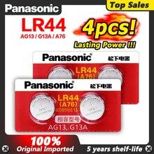 파나소닉 4pcs 1.5V 아연 AG13 LR 44 LR44 버튼 코인 셀 시계 시계 레이저 포인터 스케일 배터리 GP76 GPA76 L1154 SR44 SR44W