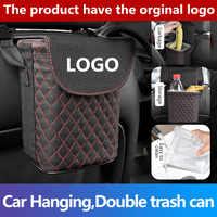 1 piezas de coche de cuero basura Auto organizador caja de almacenamiento coche basura Gargage soporte de almacenamiento del automóvil para Tesla