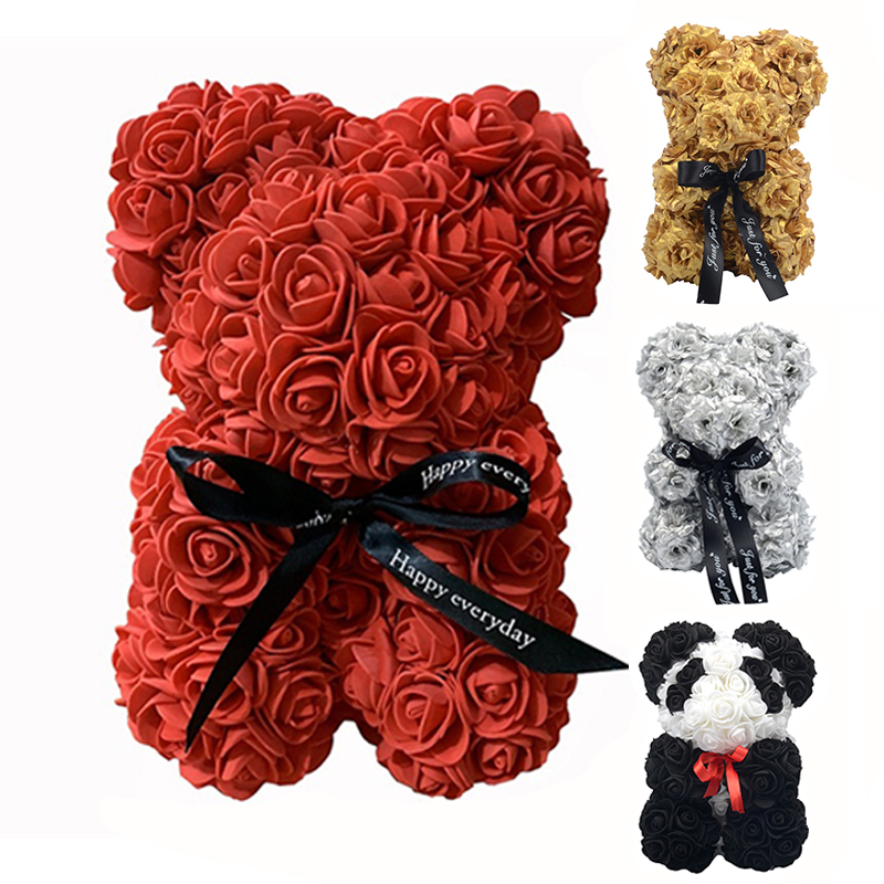 Lovely 25cm Rose Teddy Bear With Box Artificial Flowers PE Rose Bear For Women Valentines Gift Wedding Christmas Home Decor