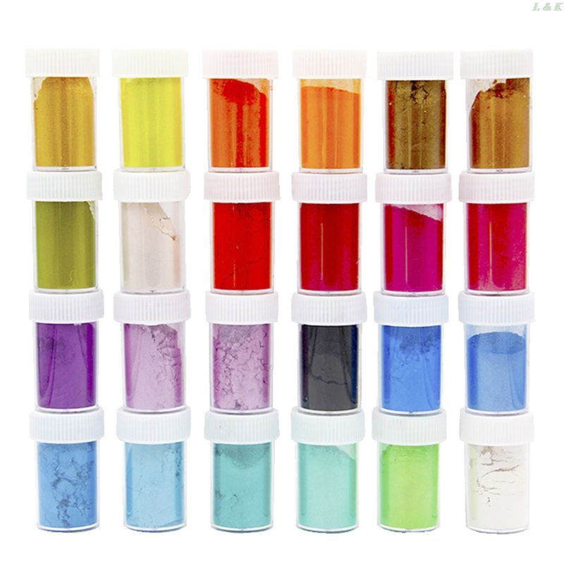 24 Pcs/set Pearlescent Powder Mica Glitter Sliam DIY Crafts Making Epoxy Pigment PXPC