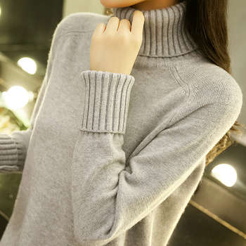 Thicken Turtleneck Knitted Sweater Women Warm Knitting Pullover Female Autumn Winter Sweaters Loose Long Sleeve Ladies Knitwear 2018 brand fashion autumn winter warm sweater long sleeve elastic sweater female pullover turtleneck knitted sweaters tops xnxee