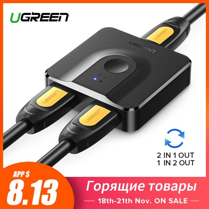 Ugreen hdmi divisor 4 k hdmi switch bi-direção 1x2/2x1 adaptador hdmi switcher 2 em 1 para fora para ps4/3 caixa de tv hdmi interruptor