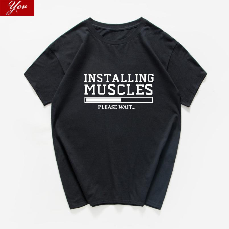 INSTALLING MUSCLES Funny T-shirt Men Fashion Streetwear Quality Cool Loose T Shirt Men Homme 100%cotton Men Clothes Harajuku