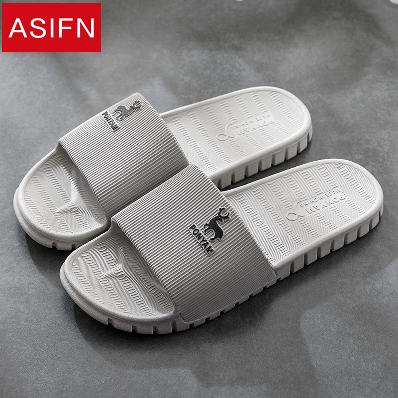 ASIFN Men's Slippers Solid Color Couple Flip Flops Ladies Soft Bottom Non-slip Indoor Bathroom Hotel Summer Home Slides Male