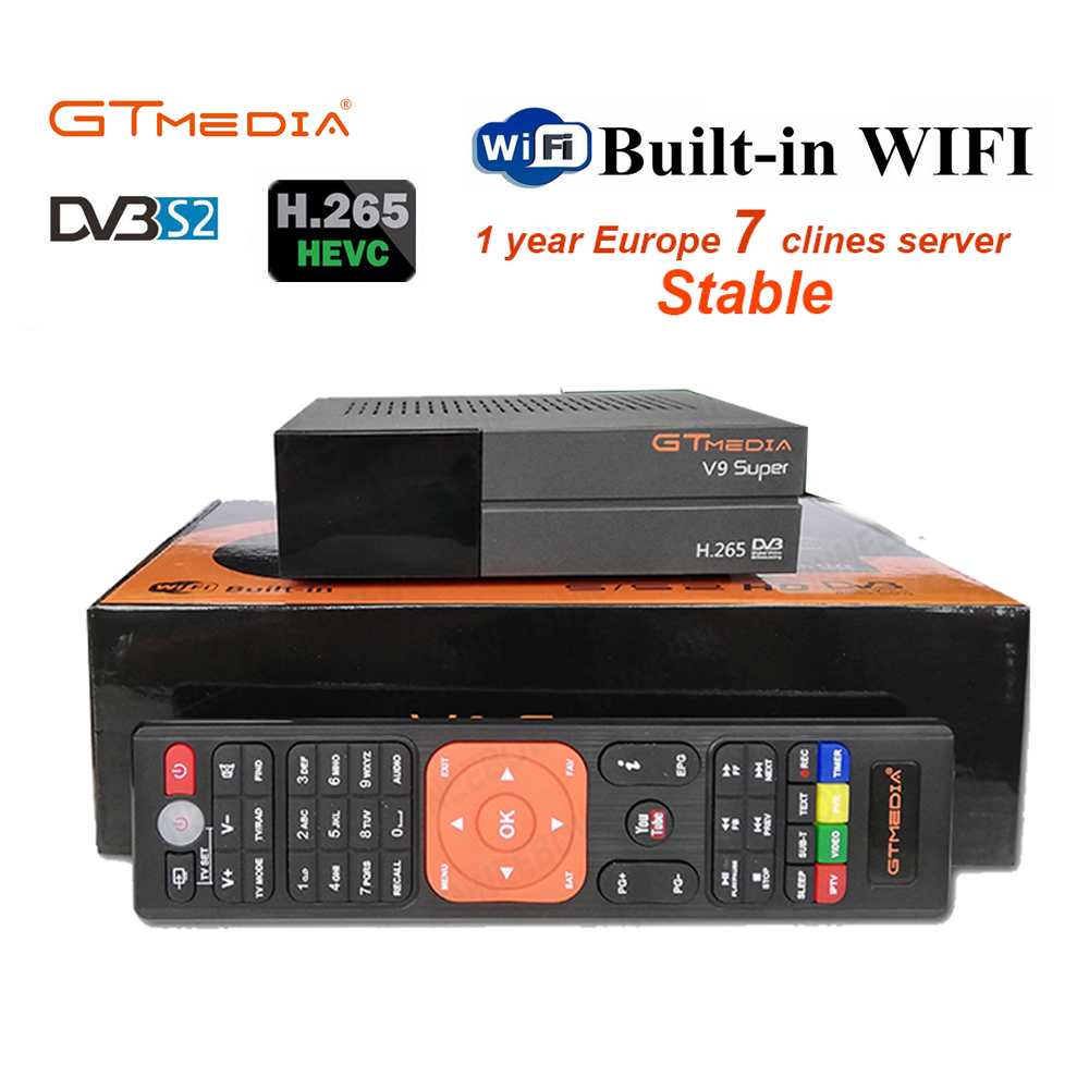 1 Year Europe Cccam 7 Clines GTMedia V9 Super Satellite Receiver DVB S2 H.265 Built in WiFi GT media V8 NOVA V9 Super Receptor-in Satellite TV Receiver from Consumer Electronics on AliExpress - 11.11_Double 11_Singles' Day 1