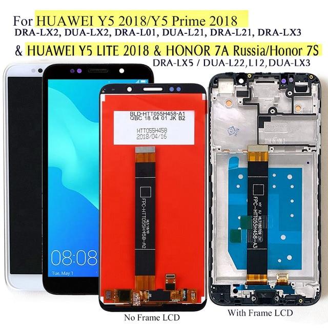 """สำหรับHuawei Y5 2018 & Y5 Lite DRA LX2/LX3/LX5จอแสดงผลLcdหน้าจอสัมผัสสำหรับHonor 7Aรัสเซีย7S DUA L22 & LX3 5.45"""""""