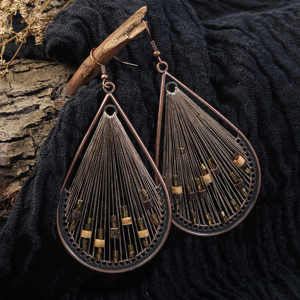 Leaf Metal Earring with Fringes
