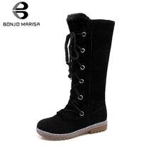 BONJOMARISA Plus Size 34-46 Women Fur Boots Ladies Winter Warm Shoes Woman Lace-up Mid-calf Snow Boots non-slip Low Heel Shoes стоимость