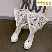 Lato kobiety nowe mody drążą siatki kolana wysoki płaski czarny Punk buty kobiece sandały z prawdziwej skóry buty tanie tanio SICCSAEE ES (pochodzenie) Podkolanówki zipper Stałe Mieszkanie z Podstawowe Mesh (air mesh) Okrągły nosek Świńskiej