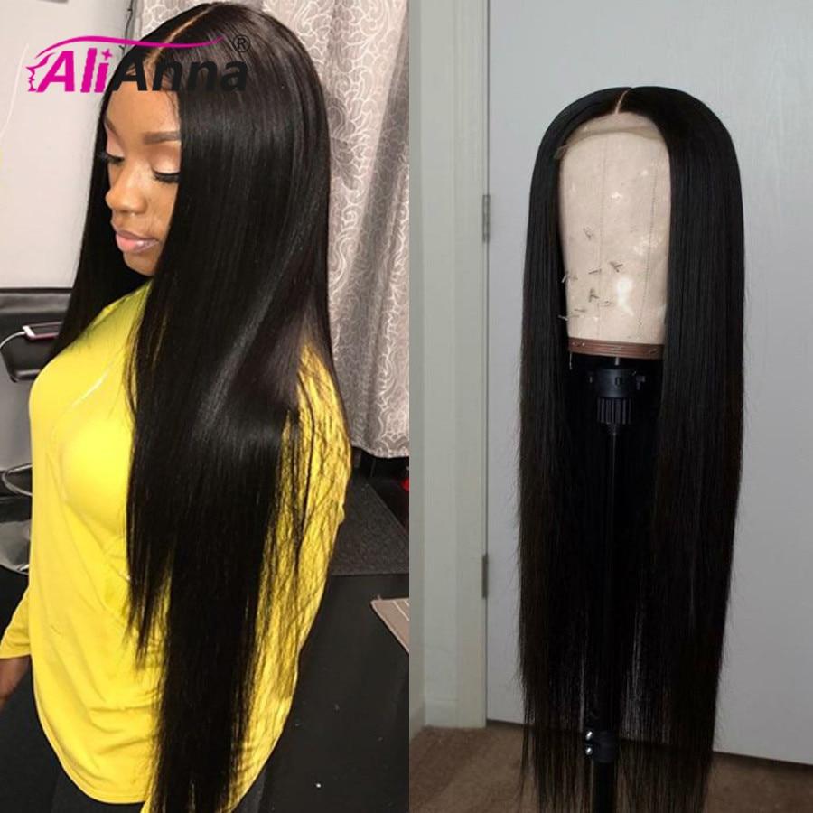 Alianna perucas transparentes do cabelo humano da parte dianteira do laço 30 Polegada peruca dianteira do laço 5x5 fechamento peruca pré arrancadas em linha reta perucas do cabelo humano