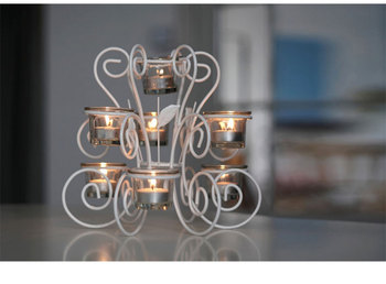 Retro Nordic Candlestick Glass White Metal Modern Romantic Candle Holder Living Room Porte Bougie Dining Table Home Decor MM60ZT