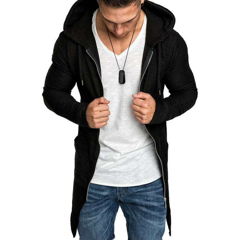 Men Splicing Hooded Trench Coat Jacket Cardigan Hoodies Long Sleeve Outwear Blouse Casual Stitch Jacket Men Zip Up Slim Jacket