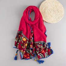 Хлопковый шарф с вышивкой в этническом стиле шали бахромой и