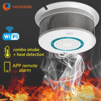 WiFi dym + czujnik ciepła niezależny Alarm bezprzewodowa ochrona przeciwpożarowa czujnik dymu bezpieczeństwo w domu sprzęt przeciwpożarowy inteligentna kontrola APP tanie i dobre opinie CN (pochodzenie) PA-438W Czujka dymu DC 5V 10 year lithium battery Less than or equal to 20mA Less than or equal to 350mA