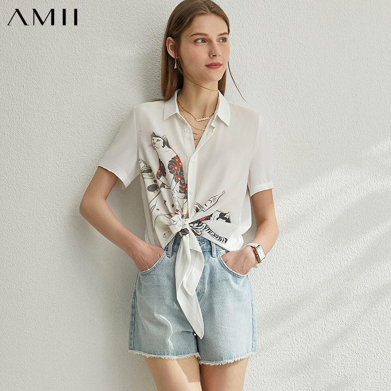 AMII Minimalism Spring Summer Printed Women Blouse Causal Chiffon Lapel Single-breasted Female Shirt Tops 12080035