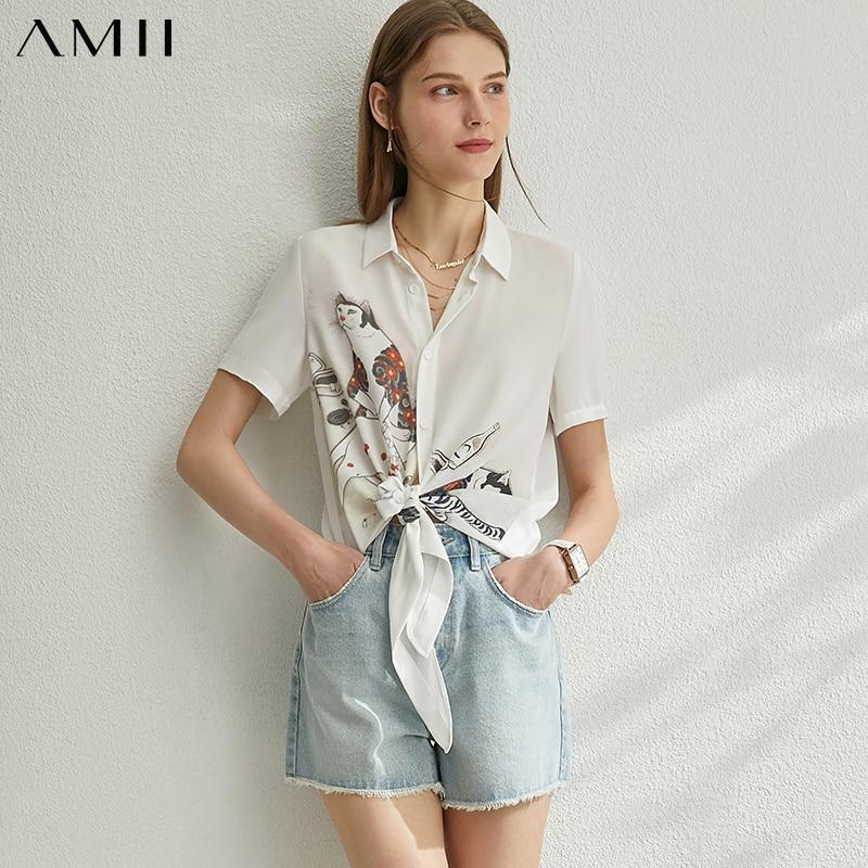 AMII Minimalism Spring Summer Printed Women Blouse Causal Chiffon Lapel Single-breasted Female Shirt Tops 12080035