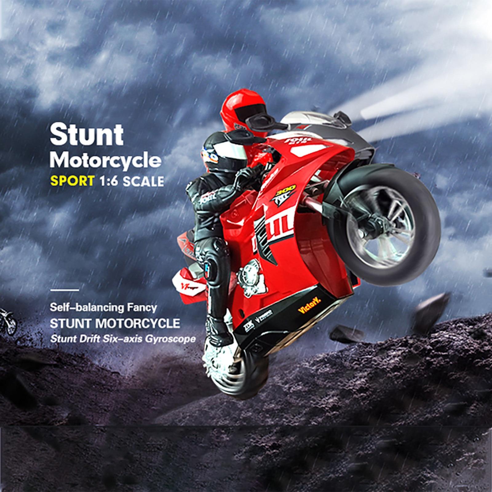 Rc moto Hc-802 auto-bilanciamento 6 assi del giroscopio acrobatica moto da corsa plastica Rtr ad alta velocità 20 km/h 360 gradi Drift # G