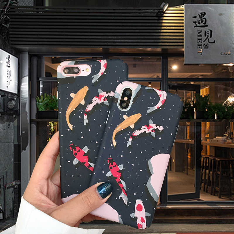 Bunga Lucky Fish Kartun Anime Keras PC Phone Case untuk iPhone 6 7 8 Plus SE 2 2020 X Max xr X 11 Pro Max Case Tahan Guncangan Penutup