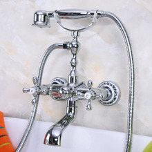 купить Polished Chrome Bathroom Tub Faucet Telephone Style Bathroom Bathtub Wall Mounted With Handshower Swive Tub Spout zna183 дешево