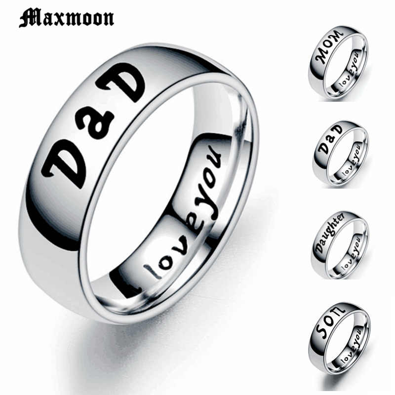 Maxmoon Anti-allergy Stainless steel Ring Dad  Mom Rings Mother's  Father's Day Gift Fashion Rings For Women 2019 Wholesale