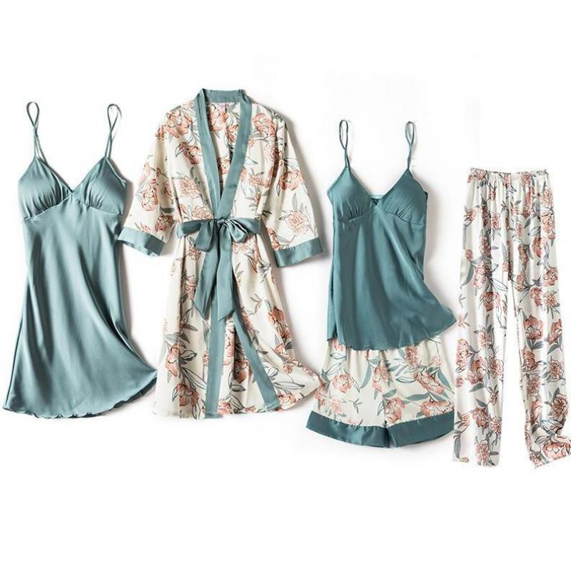 Blue Sleep Set Intimate Lingerie Sexy Nighty&Robe Suit 2021 New Women Kimono Bathrobe Gown Satin Print Flower Sleepwear Homewear